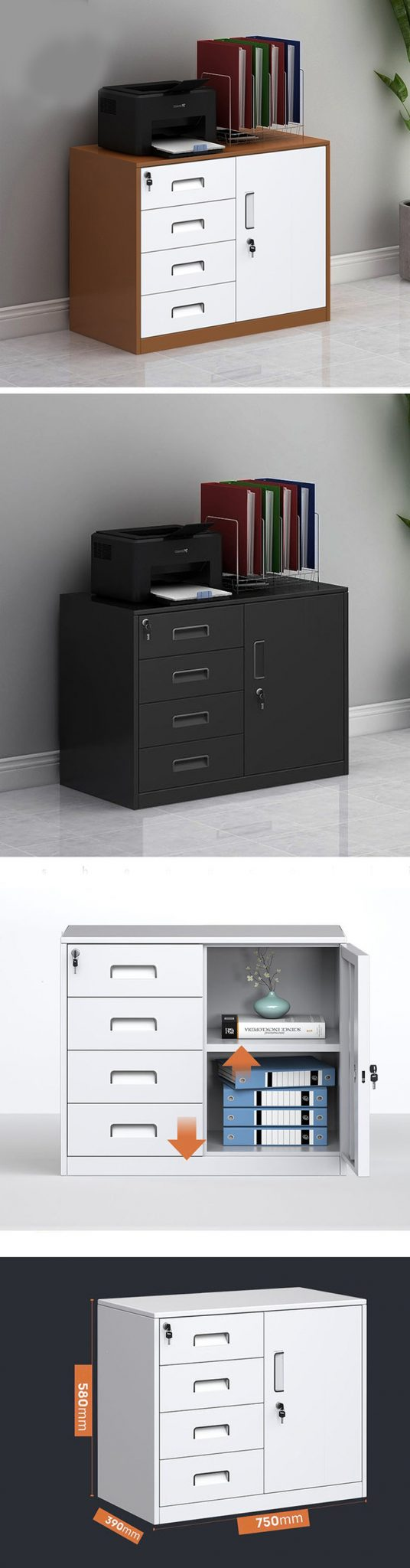 Có thiết kế thêm tủ có cánh có thể lưu trữ những tập tài liệu cần thiết.
