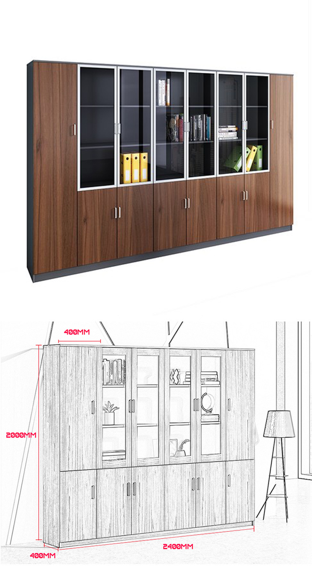 Trang trí bức tường chống bằng một chiếc tủ tài liệu hoàn hảo tính thẩm mỹ cực kỳ cao.